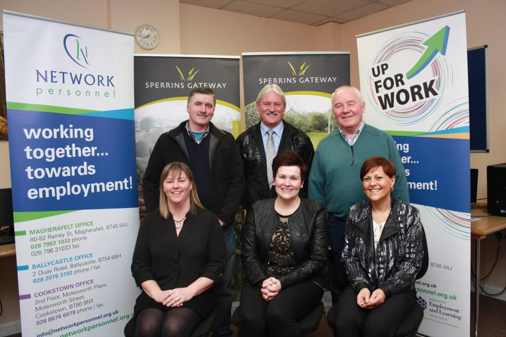 Staff from Sperrins Gateway Landscape Partnership and Network Personnel Front Row (L to R): Fiona Bryant (Sperrins Gateway), Noeleen Mallon (Sperrins Gateway), Ann McBride (Network Personnel) Back Row (L to R): Shane Madden (Network Personnel), Brian McAlynn (Network Personnel) John Graham (Network Personnel)